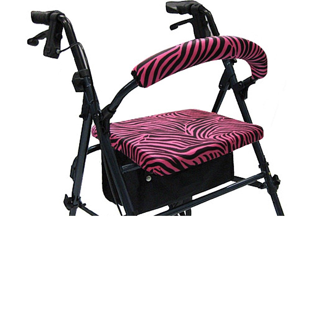 Crutcheze Pink Zebra Rollator Walker Seat and Backrest Covers Designer Fashion Accessories Made in USA