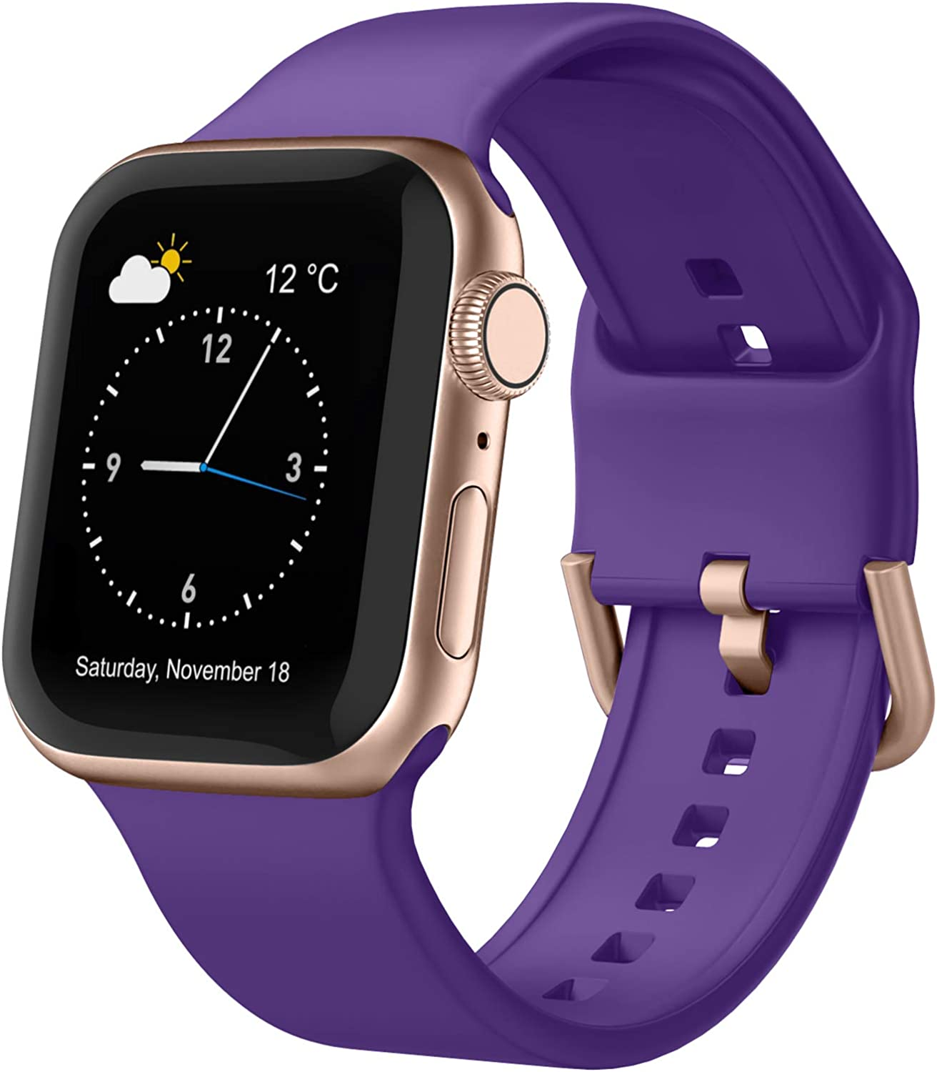 Adepoy Compatible with Apple Watch Bands 44mm 42mm 40mm 38mm, Soft Silicone Sport Wristbands Replacement Strap with Classic Clasp for iWatch Series SE 6 5 4 3 2 1 for Women Men, Purple 38/40mm