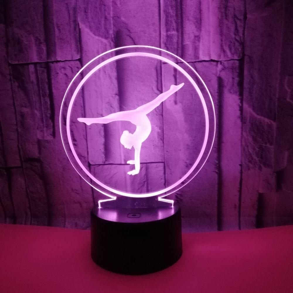 Creativo 3D Ginnastica Luce Della Notte LED Lampada 7 Cambiamento di Colore Lampada da Tavolo USB Power Interruttore Tattile Giocattoli per Bambini Decor di Natale Regalo di Compleanno [Classe di efficienza energetica A++] Aokeli
