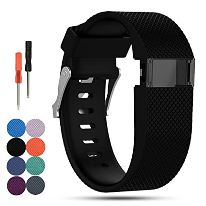 Fitbit Charge HR pulsera de repuesto, feskio Classic suave silicona hebilla de metal correa de hebilla de reloj ...