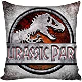 13.7 X 13.7 inches Light Grey Jurassic Park Decorative Pillowcase, Brown Dinosaur Throw Pillow Cover Jurassic World T Rex Cushion Cover Adventure Movie Themed Animal Print Zippered Plain, Polyester
