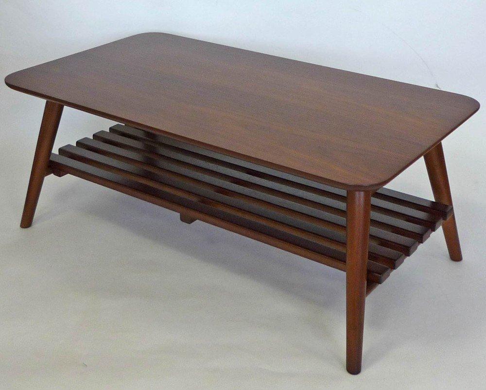 生活雑貨インテリア通販/!!ウオールナット棚つき リビングテーブル!!木目の折畳 テーブルです。 B00N9TX52O