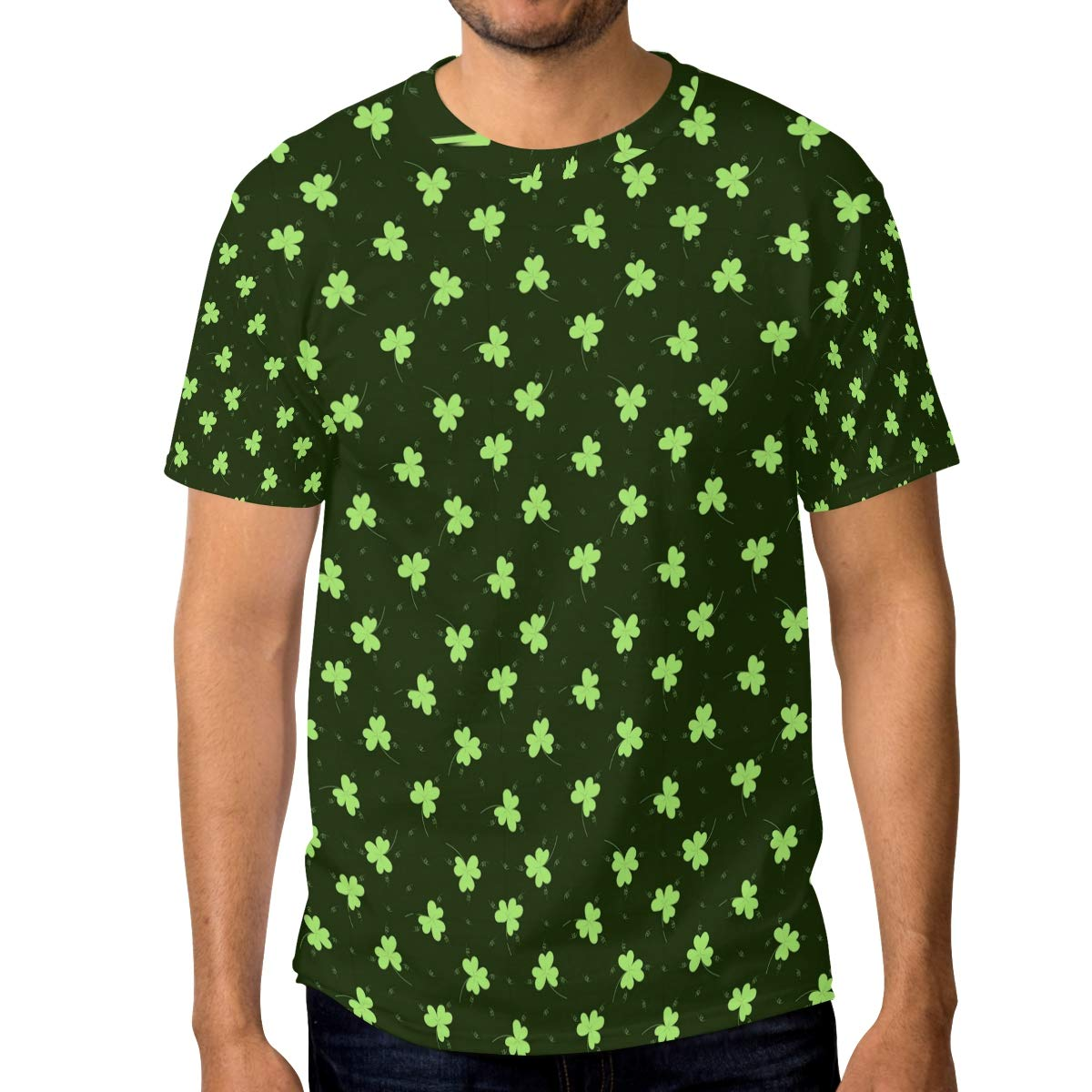 Happy St Patricks Day Lucky Clover Mens T Shirts Graphic Funny Body Print Short T-Shirt Unisex Pullover Blouse