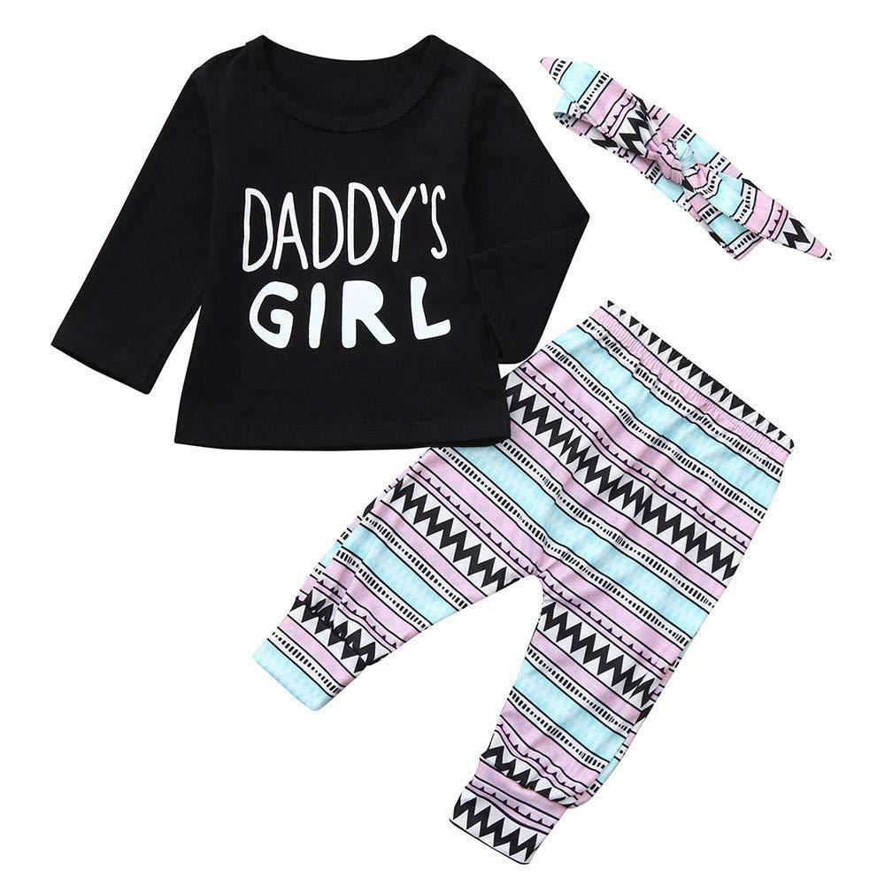 Kobay Babykleidung M/ädchen Winter Langarm T-Shirt Top Hosen Stirnb/änder Set Outfit