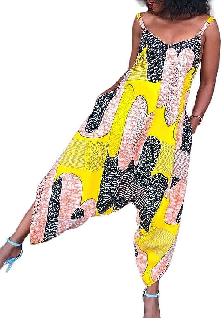 OTW Womens Baggy Loose Fit Casual Spaghetti Strap Print Jumpsuit Romper