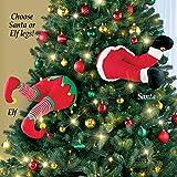 SANTA AND ELF STUCK IN CHRISTMAS TREE STUFFED PANTS DECOR