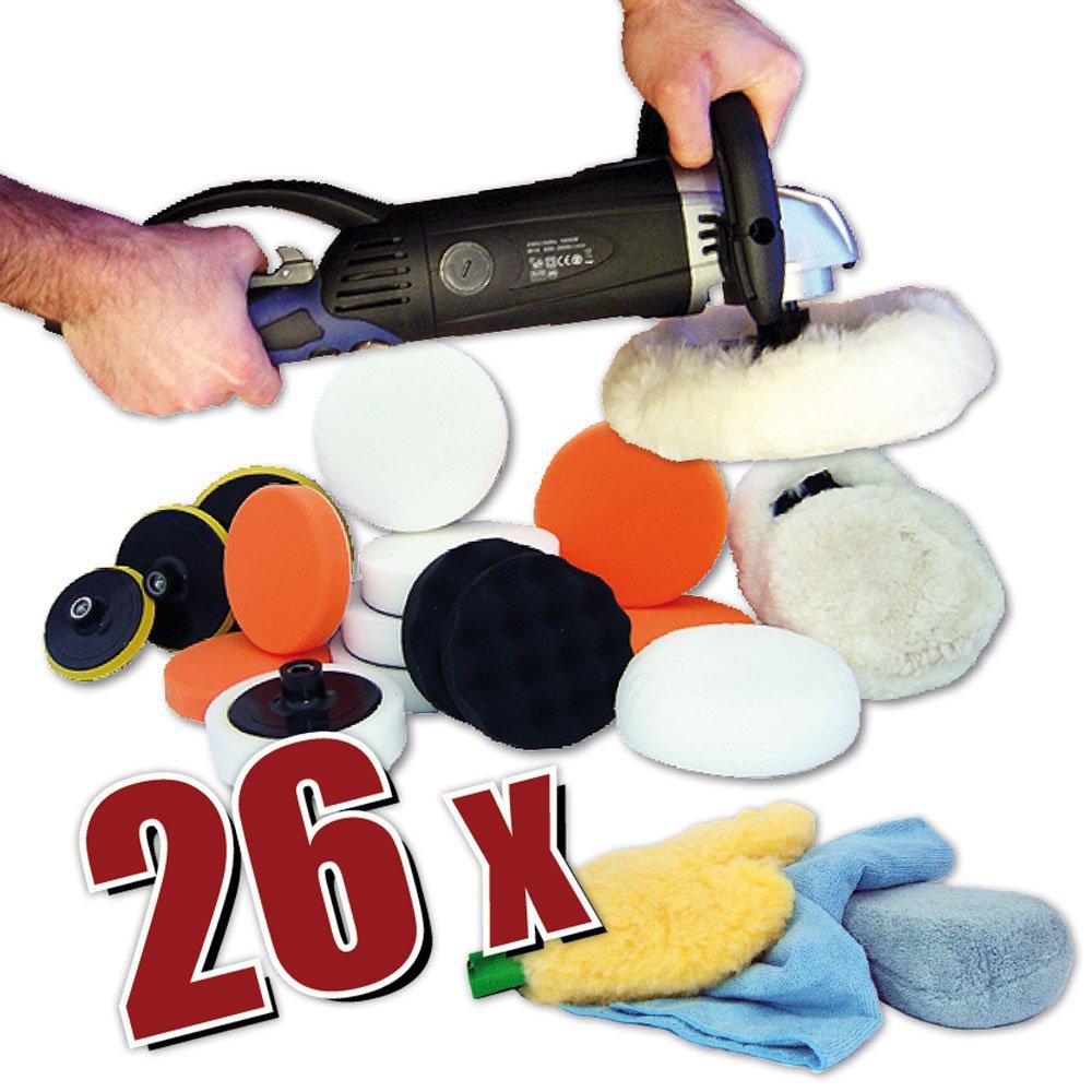 King Barney XL Set Kit Professionnel –  Polisseuse/polisseuse 1600 W 2 –  Affichage numé rique + é ponge de polissage Set d'accessoires –  26 piè ces – &nbsp
