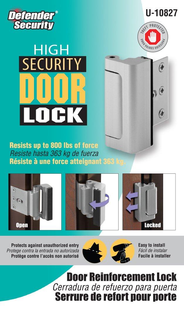 Prime-Line U 10827 Door Reinforcement Lock, 3 in. Stop, Aluminum ...