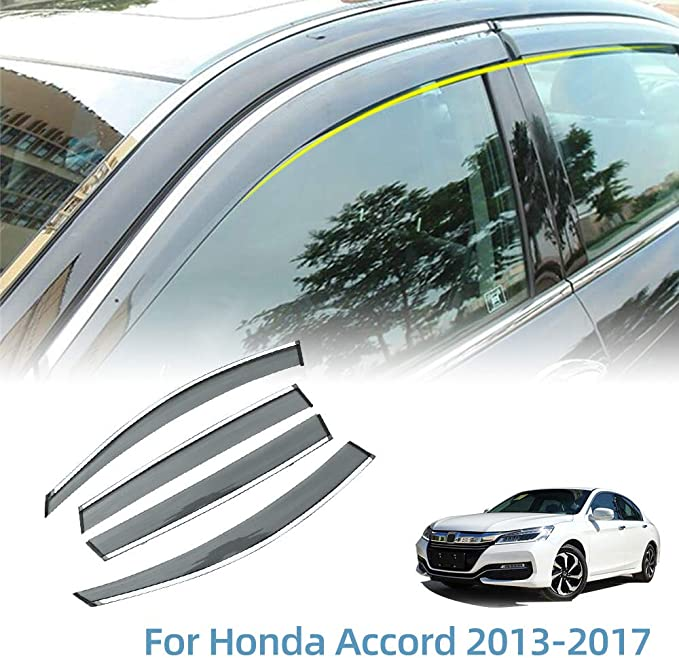 Light Tinted Out-Channel Vent Visor Deflector 4pcs For 2015-2016 Honda Fit