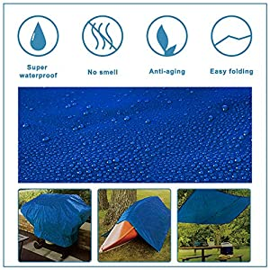 Lightweight Outdoor Camping Tarp Hanjet 6′ x 8′ 5-mil Blue Waterproof Boat Tarps Covers with Grommets