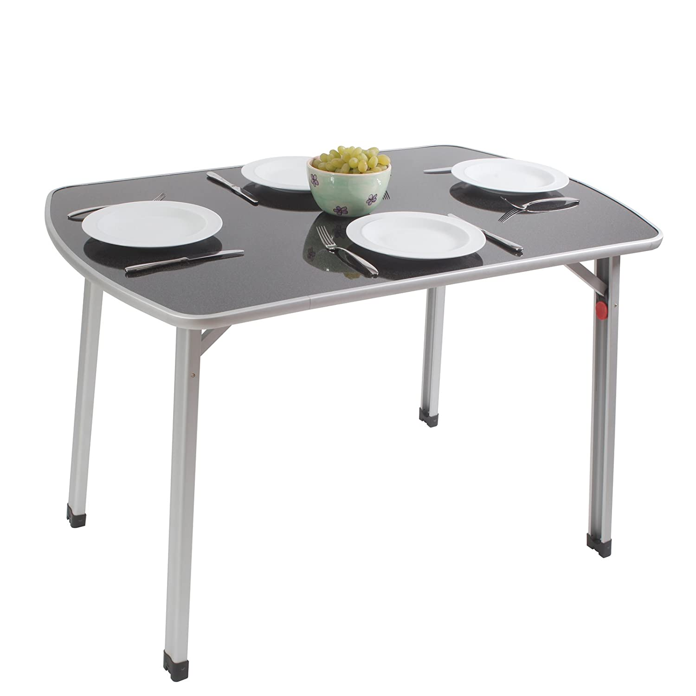 Outdoor Tisch mit verstellbaren Beinen leichtes Aluminiumgestell 110 x 70 cm • Campingtisch Gartentisch Klapptisch Koffertisch Falttisch Bierzelttisch