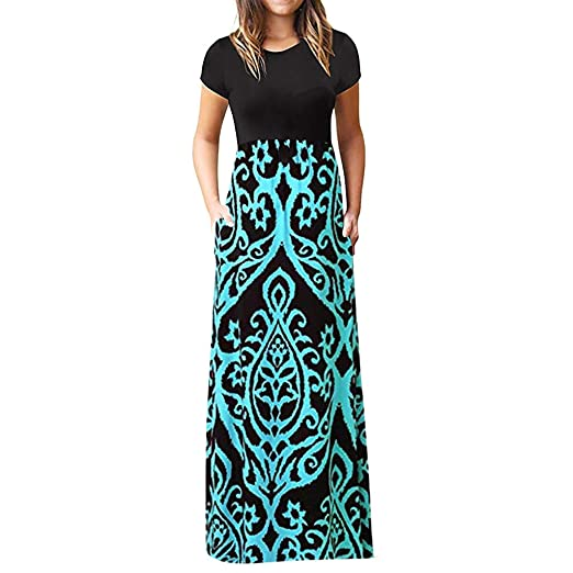 65b57e262178 Peize Women's Casual Sleeve O-Neck Print Maxi Tank Ladies Long Dress at  Amazon Women's Clothing store: