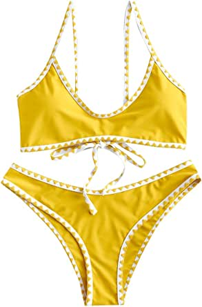 ZAFUL Women's Spaghetti Straps Contrast Trim Two Piece Crochet Bikini Set (Bright Yellow, XL)