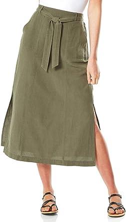 Roman Originals Falda con Abertura Frontal para Mujer, 55% algodón ...