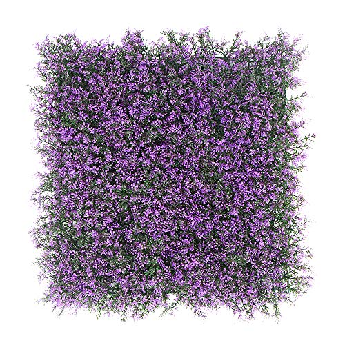 "ULAND Artificial Boxwood Hedges Panels, Greenery Ivy Privacy Fence Screening, Home Garden Outdoor Wall Decoration, 20""X20"" per pc (6, A042Purple) from ULAND"