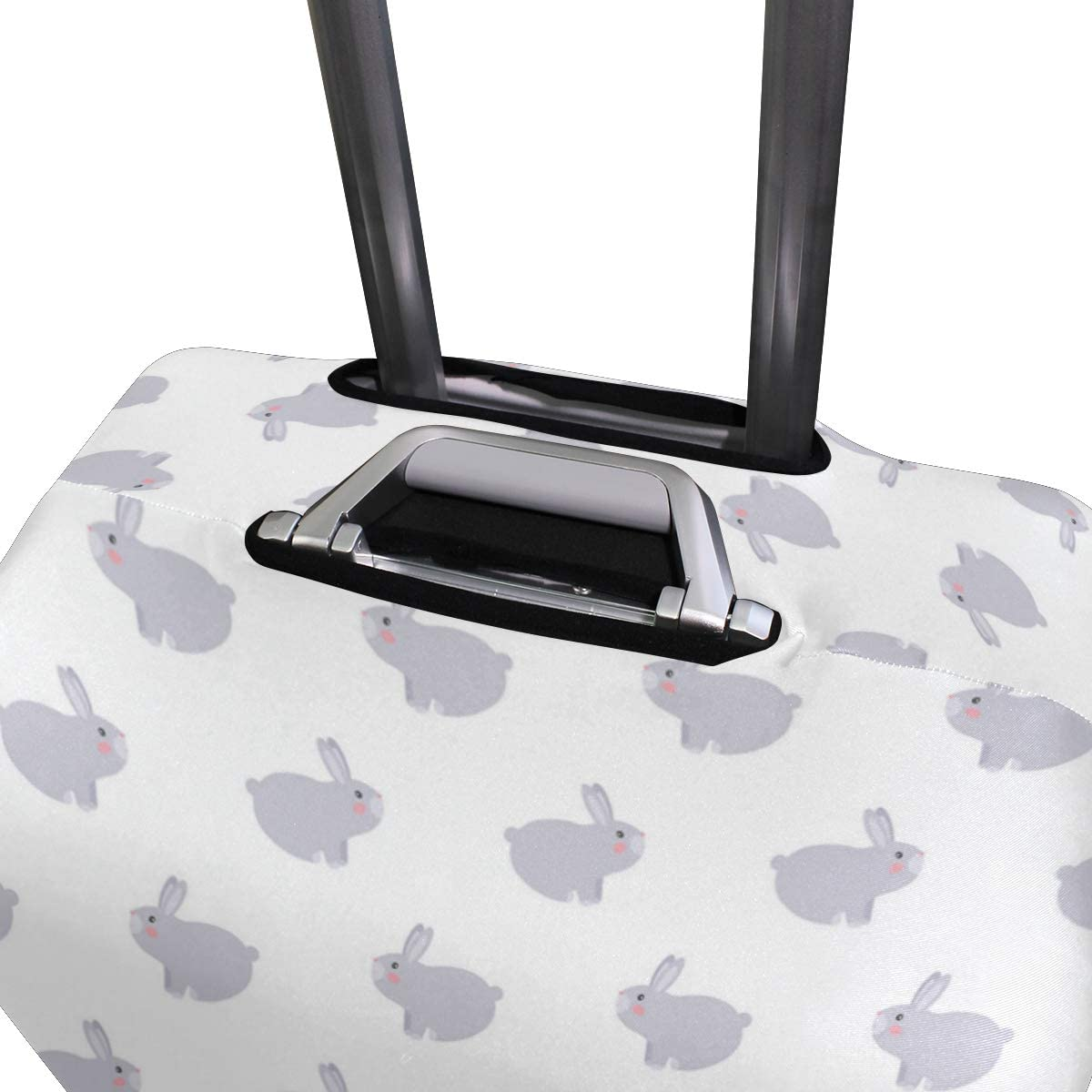 Fashion Travel Cute Baby Gray Bunny Rabbit In Hippie Luggage Suitcase Protector Washable Baggage Covers