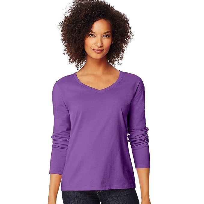 50b66f510085 Hanes Women's Long-Sleeve V-Neck T-Shirt_Violet Splendor_S at Amazon ...