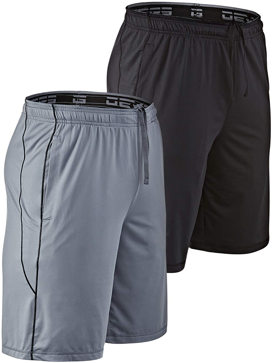 DEVOPS Men's 10-inch Athletic Workout Basketball Shorts with Pockets (Pack of 2)