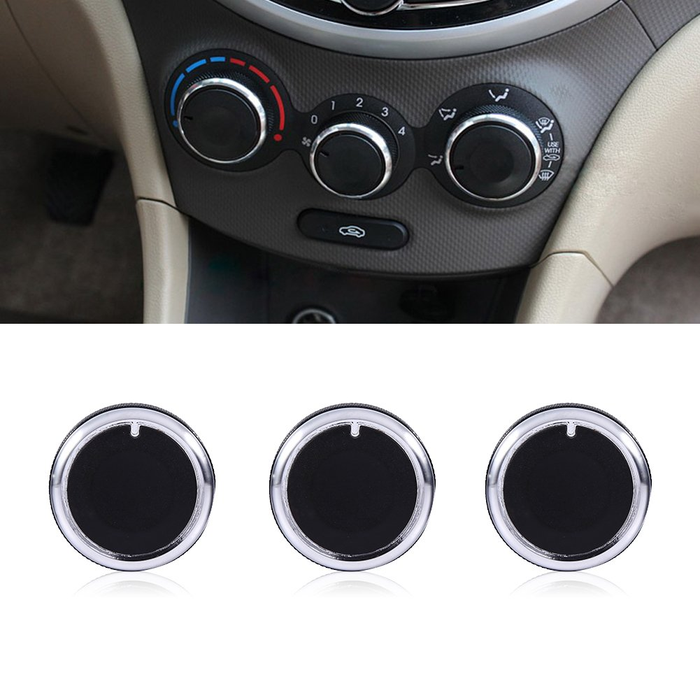 BLACK Keenso Pack of 3 Special Interior A//C Air Conditioning Heat Control Switch Knob Button Cover Cap Decoration Trim For Mazda 04-09 M3 Replacement Knob