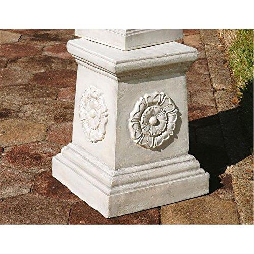 Design Toscano English Rosette Sculptural Garden Plinth Base Riser, Grande 20 Inch, Polyresin, Antique Stone