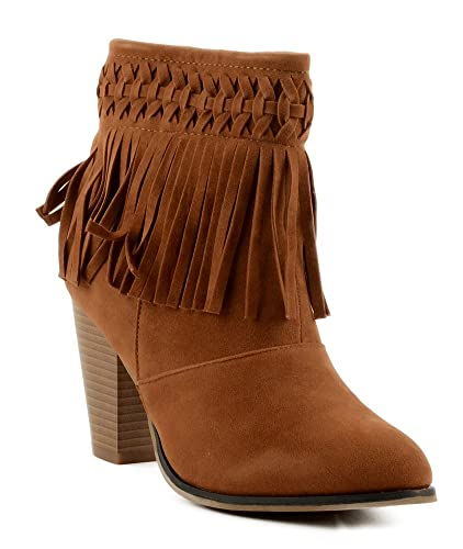 Camila-86 Women's Almond Toe Fringe Chunky High Heel Ankle Booties Shoes
