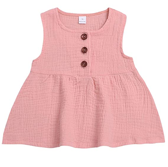 85874de0a BSGSH Kid Baby Girls Cute Button Sundress Skirt Tank Dress Clothes Summer  2019 (2-