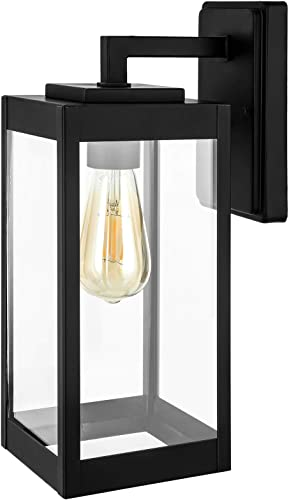 DEWENWILS Outdoor Wall Light, Clear Glass Shade, Matte Black Finish, E26 Socket, Weather Resistant Wall Sconce for Garage, Porch, Backyard, ETL Listed