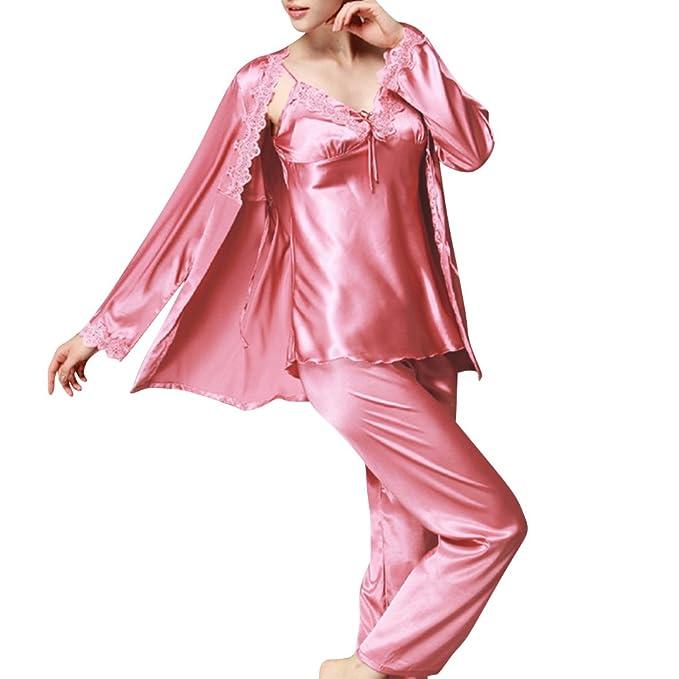 Pijamas Mujer Set de Satén 3-In-1 Camisones Manga Larga Pantalones: Amazon.es: Ropa y accesorios