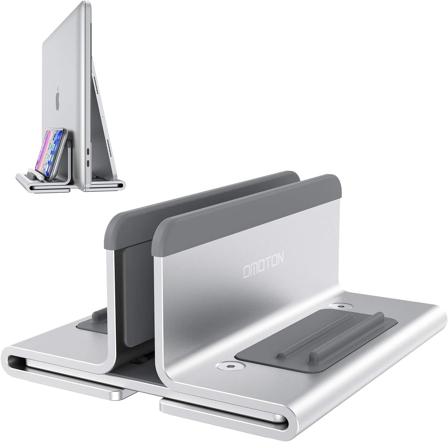 Upgraded Laptop Vertical Stand, OMOTON 3-in-1 MacBook Laptop Holder Dock with Sturdy Silicone Pads for Ultra Protection, Suitable for iPhone/iPad/MacBook Pro/Surface/Samsung/Android Tablets, Silver