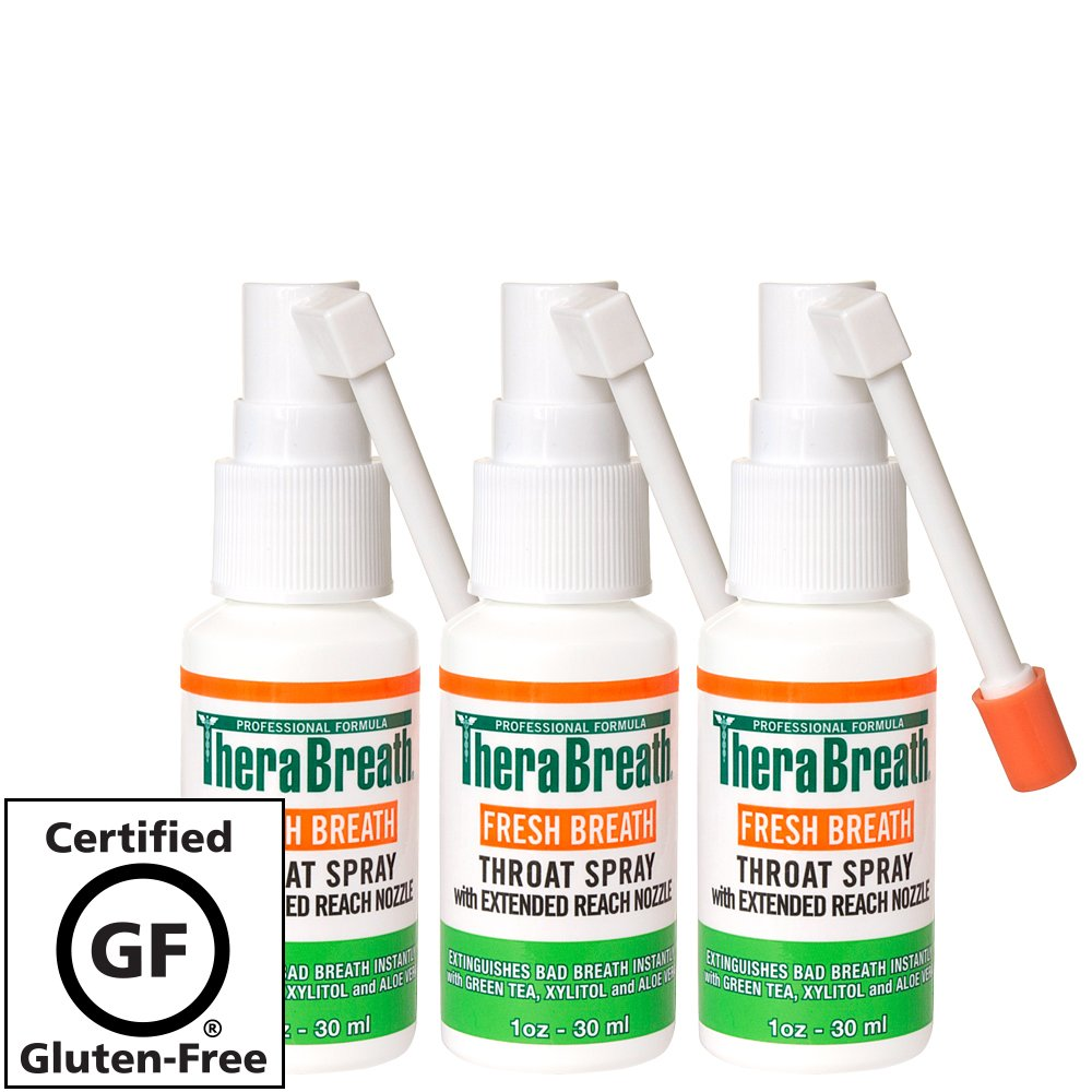 TheraBreath Fresh Breath Spray – Dentist Formulated – Maximum-Strength - Extinguisher Spray – Stops Halitosis – Certified Gluten-Free – Approved for Diabetics – 1 Ounce – Three-Pack