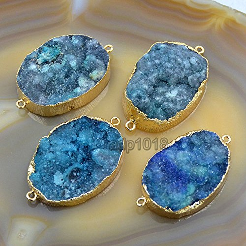 AD Beads Natural Druzy Quartz Agate Bracelet Necklace Connector Charm Beads Gold & Silver (Gold Aquamarine Oval 30x40mm)