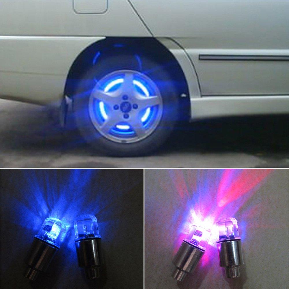 Pezzi Bici Auto Moto Ruota Luce Tappi valvola del Pneumatico Neon Flash LED Luce della Lampada di Sicurezza Spia con 6pcs batterie a Bottone AG10/ Rosso SYN Auto Pneumatico Ruota luci