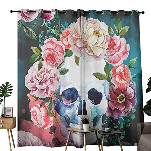 duommhome Skulls Decorations Collection Bathroom Curtain Big Flowers and Skull Design Skeletons All Saints Day Halloween Image Curtains are Long Lasting W96 xL84 Soft Purple Pink Green -