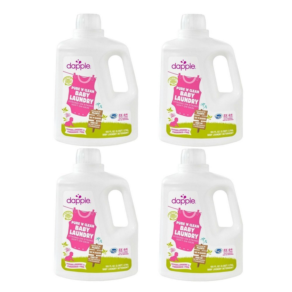 Dapple Baby Laundry Detergent, Fragrance Free, 100 Ounce (4 Pack)
