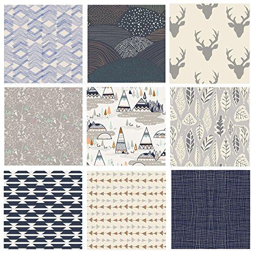 Hello Bear Quilting Bundle | Native American Fabrics | Navy Gray Nursery Fabrics | Indian Summer | Southwestern Quilt Bundle | 9 Fabrics | Art Gallery Fabrics (Fat - Nursery Fabrics