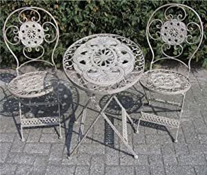 Art Nouveau Garden Furniture Set French Gray - 1 Table, 2 Chairs