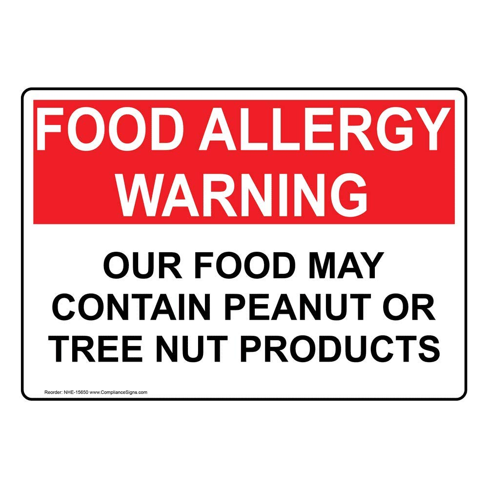 Food Allergy Warning Food Contain Peanut Or Tree Nut Label Decal, 10x7 inch Vinyl for Safe Food Handling by ComplianceSigns