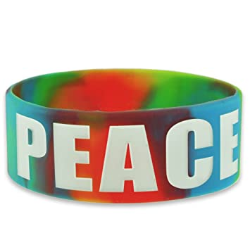 peace tiedye wide rubber silicone bracelet - Support Our Troops Silicone Bracelet