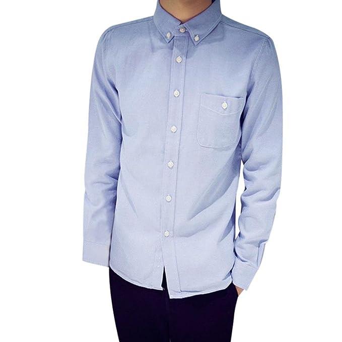 89ba47058d9 Sannysis Camisa para Hombres Transpirable Manga Larga Color Sólido para  Hombres Slim Fit Formales/Casual