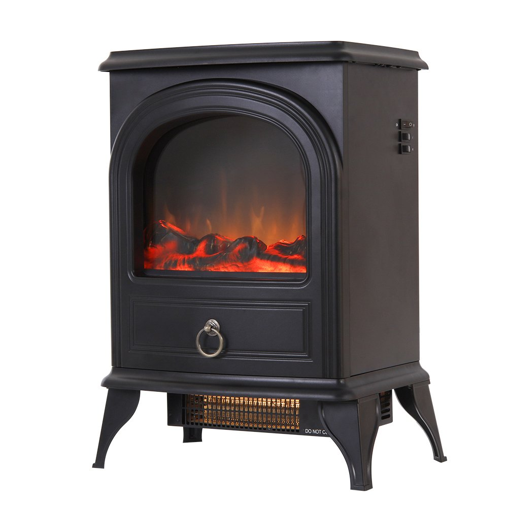 Valuxhome Puregate 22'' 750W/1500W, Compact Free Standing Electric Fireplace Heater, Black