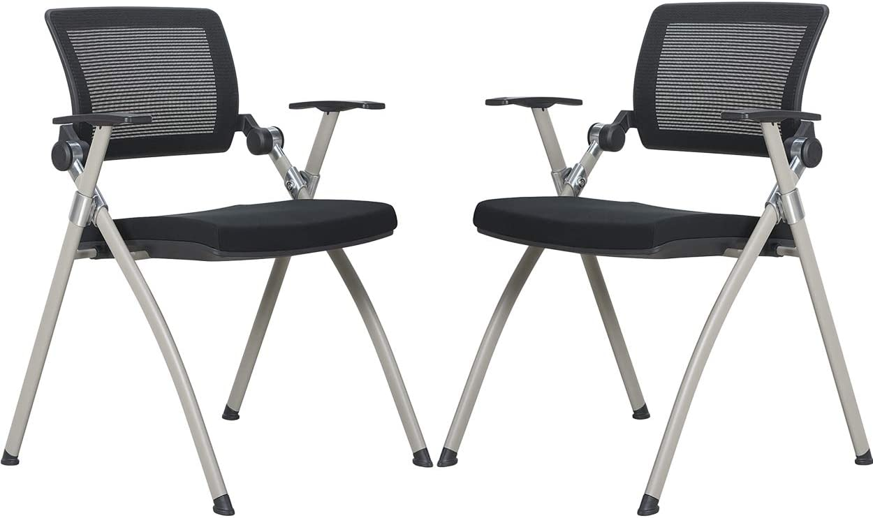 BonNoces Modern Office Conference Chair Reception Chair, Mesh Back, with Ergonomic Lumbar Support & Comfort Seat Cushion, BIFMA Certified, No-Assembly, for Guest Office Waiting Area, Set of 2