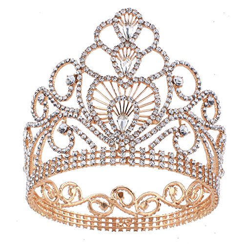 Stuffwholesale Gold Tiara Teardrop Rhinestone Clear Crown Party Event -