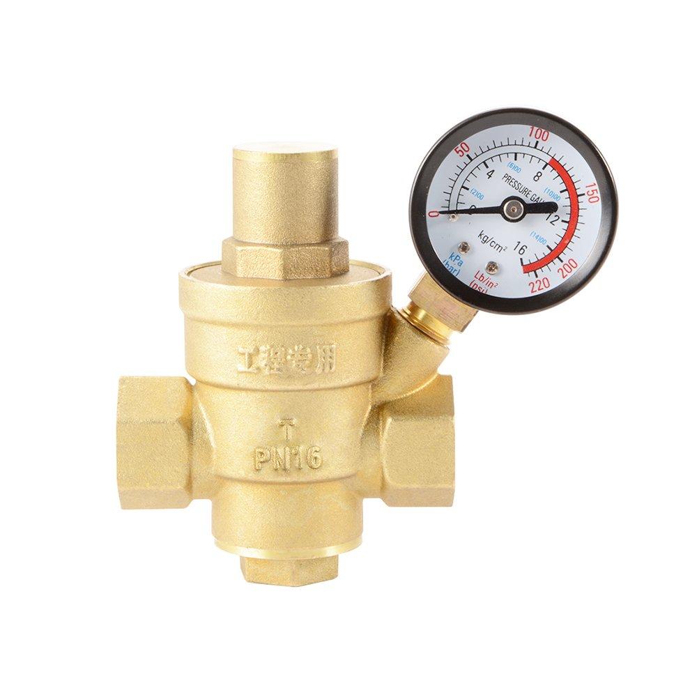 XCSOURCE Water Pressure Regulator Brass Lead-free Adjustable 3/4'' 20mm Water Pressure Reducer Reducing Valve with Pressure Gauge Bar/Psi HS1060