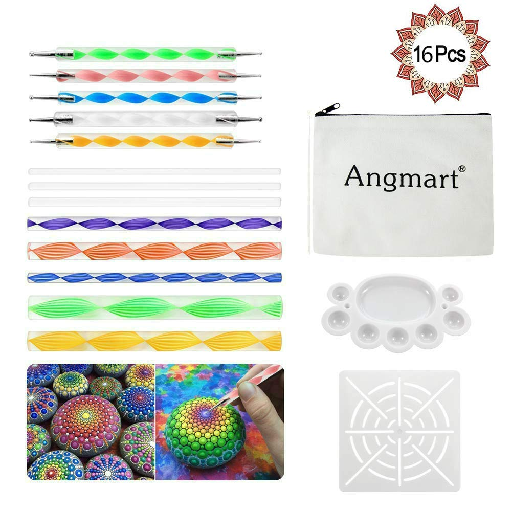 Angshop 16 Pieces Mandala Rock Dotting Tools kit for Mandala Rock Painting, Coloring, Drawing & Drafting, Kids' Crafts, Nail Art, Painting Kids' Crafts