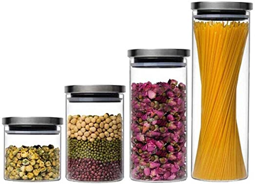 Vorratsdose Glasbehälter Edelstahl Anti Rutsch Gummi Dose Glas Luftdicht stapelbar Vorratsbehälter Frischhaltedose Aufbewahrung Kaffeedose Glas (0,3