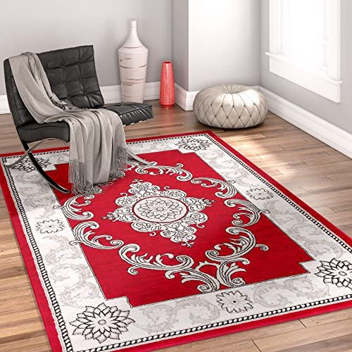 Well Woven Chateau Medallion Red French Aubusson Modern 8 x 10 7 10 x 9 10 Area Rug Easy Clean Stain Fade Resistant Shed Free Contemporary Thick Soft Plush Living Room Rug