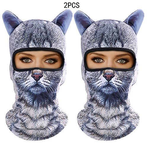 Outgeek Cat Mask, Women Men Balaclava Summer Full Face Hat Animal Ears Sports Helmet Climbing Fishing Cap (2PCS Cats) by Outgeek (Image #6)