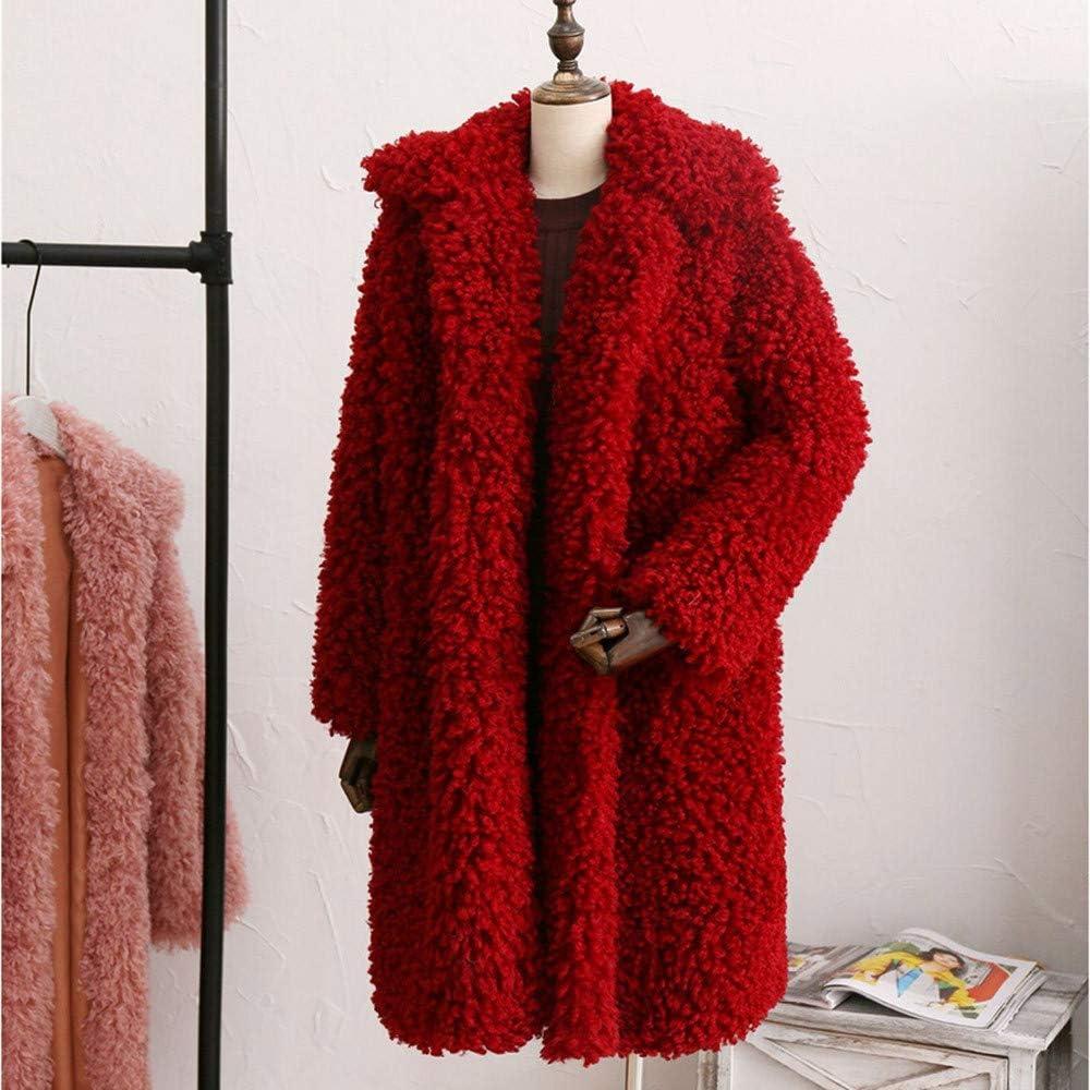 Lelili Women Winter Warm Long Cardigan Coat Long Sleeve Turn Down Collar Straight Outwear Parka