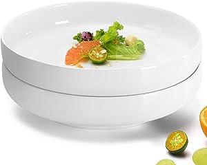 "NJCharms Ceramic Serving Bowls and Platters, 63 Ounces 10"" Porcelain White Serving Dishes for Salad, Pasta, Fruit, Extra Large Premium Serving Plates for Dinner, Stackable, Set of 2, 2 Quart"