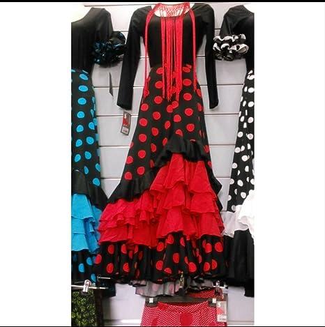 Sabor Andaluz Falda Flamenco 5 Volantes Negra con Lunar Rojo ...